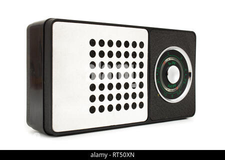 Old retro radio laid on white background - Stock Photo