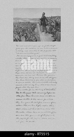 President Abraham Lincoln delivering the Gettysburg Address and a copy of his notes from that speech. - Stock Photo