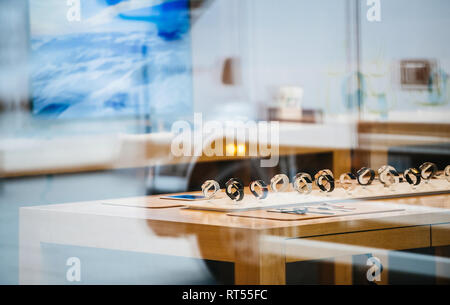 STRASBOURG, FRANCE - NOV 3, 2017: City reflection of Apple Store with Apple Watch Series 3 range waiting for the customers  - Stock Photo