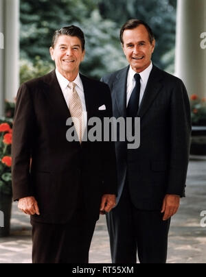The official portrait of President Ronald Reagan and his Vice President George H.W. Bush. - Stock Photo