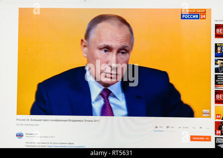 PARIS, FRANCE - DEC 14, 2017: POV at Rossiya RTR the Russian President Vladimir Putin give final media Q&A before March election - Stock Photo