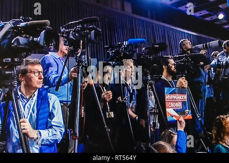 PARIS, FRANCE - DEC 14, 2017: Media journalists and photographers at the Russian President Vladimir Putin give final media Q&A before March election - Stock Photo