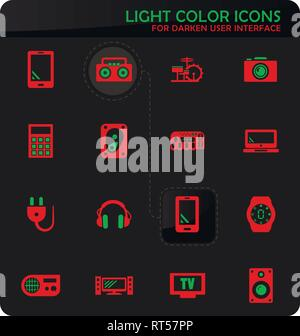 Devices easy color vector icons on darken background for user interface design - Stock Photo