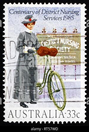 AUSTRALIA - CIRCA 1985: a stamp printed in the Australia shows Royal District Nursing Service Centenary, circa 1985 - Stock Photo