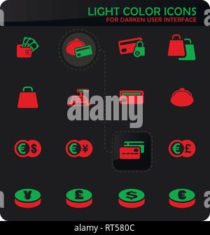 E-commers easy color vector icons on darken background for user interface design - Stock Photo