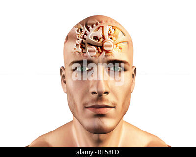 Gears shown in mans head. - Stock Photo