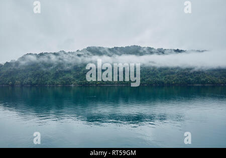 Chile, Hornopiren, island in fjord - Stock Photo