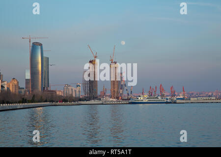 Baky skyline view from Baku boulevard the Caspian Sea embankment . Baku is the capital and largest city of Azerbaijan and of the Caucasus region. Tall - Stock Photo