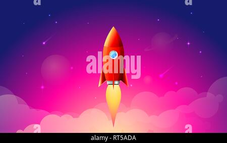 Rocket launch,ship.vector, illustration concept of business product on a market. - Stock Photo