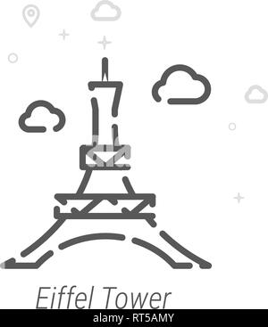 Eiffel Tower, Paris Vector Line Icon. Historical Landmarks Symbol, Pictogram, Sign. Light Abstract Geometric Background. Editable Stroke. Adjust Line  - Stock Photo