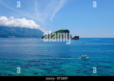 Montenegro, Adriatic Coast, near Budva, Sveti Nikola Island - Stock Photo