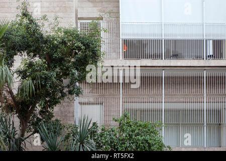Israel, Tel Aviv, Rothschild Boulevard, White City, International Style - Stock Photo