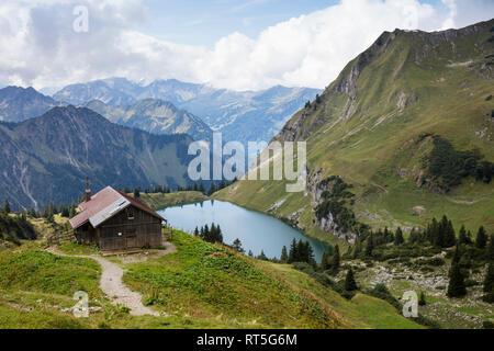 Germany, Bavaria, Allgaeu Alps, Nebelhorn and Lake Seealpsee - Stock Photo