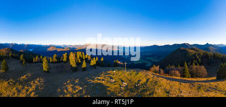 Germany, Bavaria, Isarwinkel, Bavarian Alps, View over Isar Valley, high alp near Lenggries, aerial view with drone - Stock Photo