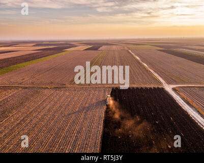 Serbia, Vojvodina. Tractor plowing field in the evening - Stock Photo