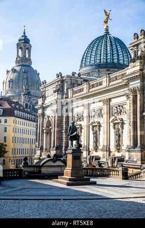 Germany, Dresden, monument of Gottfried Semper, academy of fine arts and dome of Church of Our Lady