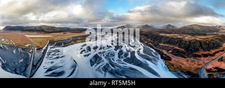 Iceland, Skeidara river, glacier river, panoramic view - Stock Photo