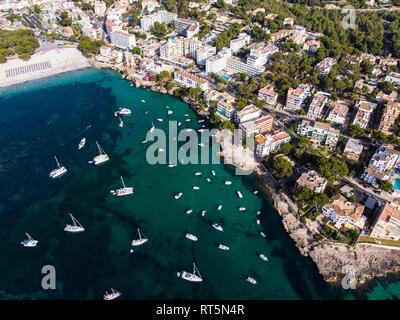 Spain, Baleares, Mallorca, Calvia region, Aerial view of Santa ponca, marina - Stock Photo