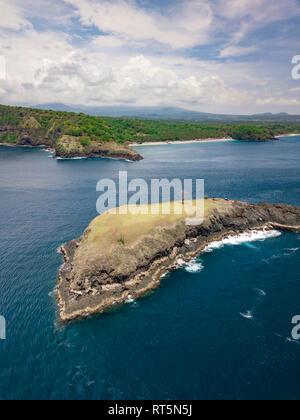 Indonesia, Bali, Karangasem, Aerial view of Pulau Paus Island and Virgin beach in the background - Stock Photo