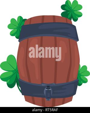 barrel and clovers st patricks day vector illustration - Stock Photo