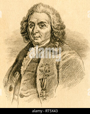 Carl Linnaeus / Carl von Linné, Swedish botanist, 18th century, steel engraving from an book or magazine, about 1830th., Artist's Copyright has not to be cleared - Stock Photo