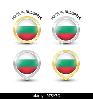 Made in Bulgaria - Guarantee label with the Bulgarian flag inside round gold and silver icons. - Stock Photo
