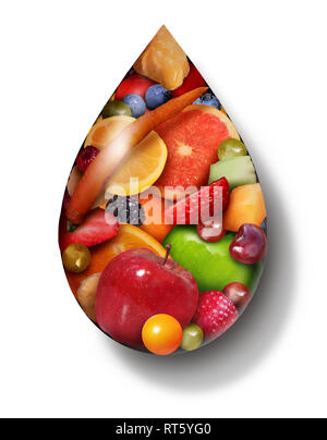 Fruit Juice drop as organic natural sweet produce as a symbol for a detox beverage or healthy food diet drink in a 3D illustration style. - Stock Photo