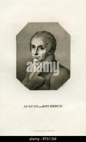 August von Kotzebue, German writer, copperplate engraving by Rémon after Müller, printed by, Schumann, Zwickau, 19th century., Artist's Copyright has not to be cleared - Stock Photo