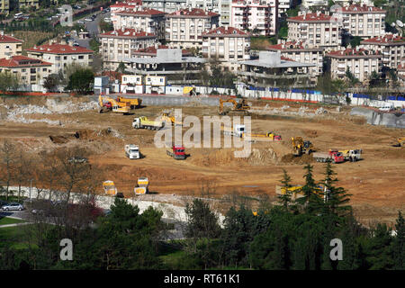 Buildings and starting building construction in Istanbul, Turkey. - Stock Photo