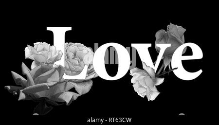 Monochrome_concept_love_roses_on black_background_by_jziprian - Stock Photo