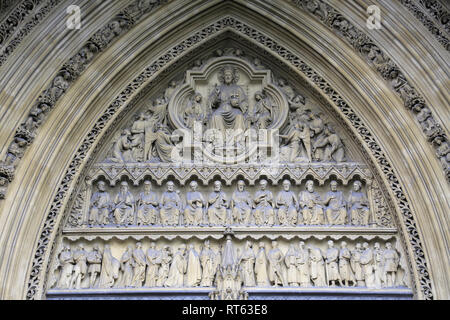 Architectural Detail of North Entrance, Westminster Abbey, London, England, United Kingdom - Stock Photo