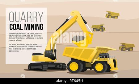 quary coal mininig  concept  haul heavy duty  truck loading from excavator  coal mining industry flat style illustration best for web and presentation - Stock Photo