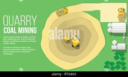quary coal mininig aerial view concept form above showing turck loading from excavator and miling coal mining industry  flat style illustration - Stock Photo