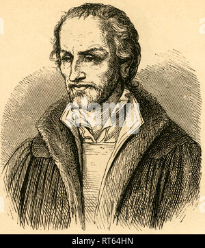 Philip Melanchthon, German Lutheran Reformer, 1497-1560, Illustration from: 'Deutsche Männer ' (German men), images from the history of the German people from Hermann dem Cherusker to our days by Manuel Raschke, with 317 woodcuts from J.J. Webers xyl. Anstalt in Leipzig, published by Karl Prochaska, Leipzig and Teschen, 1868., Additional-Rights-Clearance-Info-Not-Available - Stock Photo