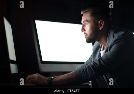 close up.businessman using computer. - Stock Photo