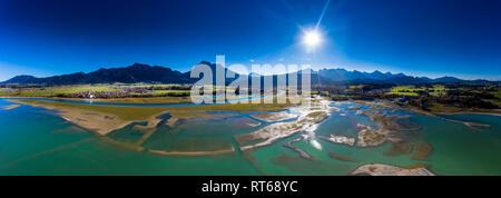Germany, Bavaria, East Allgaeu, Fuessen, Schwangau, Forggensee, low level of water and sandbanks - Stock Photo