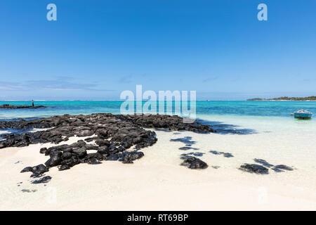 Mauritius, Flacq, East Coast, Fisherman at beach of Belle Mare - Stock Photo
