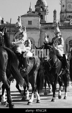 Life Guards leaving parade ground in London, Black and white - Stock Photo