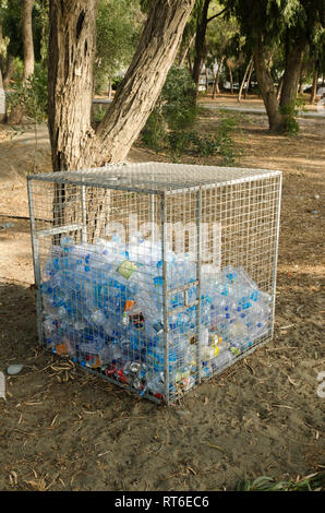 Plastic Bottle Recycling Container Cyprus - Stock Photo