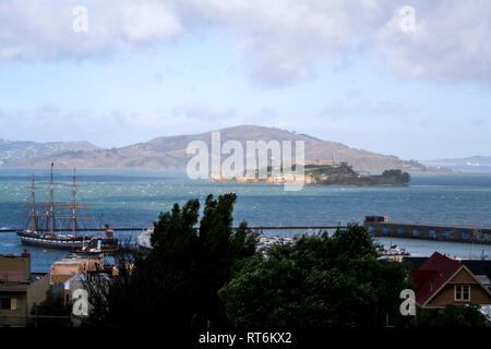 Alcatraz from top of a hill in San Francisco - Stock Photo