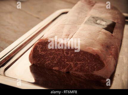 Sher Australian Wagyu Ribeye cap. Wagyu high level of marbling, meaning more intramuscular fat for a richer, juicier and flavourful meat. - Stock Photo