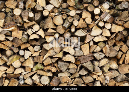 Closeup of firewood stacked ready for winter - Stock Photo