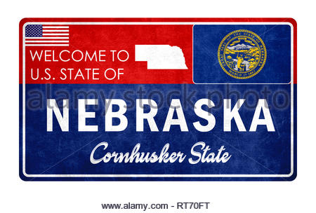 Welcome to Nebraska - grunde sign - Stock Photo