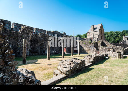 Fougeres, France - July 25, 2018: The medieval castle in the town of Fougeres a sunny day of summer. Ille-et-Vilaine, Brittany - Stock Photo