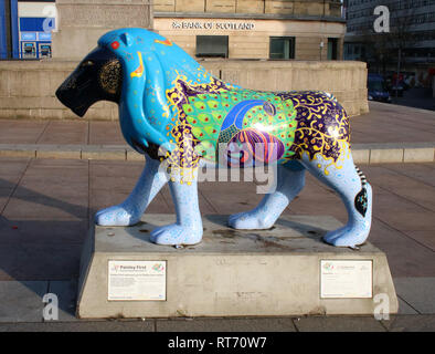 Superbia, lion sculpture, painted by Maureen Rocksmoore, in High Street, Paisley, Refrewshire, Scotland originally created for Pride of Paisley event. - Stock Photo