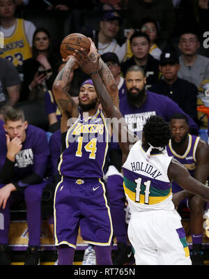 February 27, 2019 - Los Angeles, California, U.S - Los Angeles LakersÃ• Brandon Ingram (14) shoots during an NBA basketball game between Los Angeles Lakers and New Orleans Pelicans Wednesday, Feb. 27, 2019, in Los Angeles. (Credit Image: © Ringo Chiu/ZUMA Wire) - Stock Photo