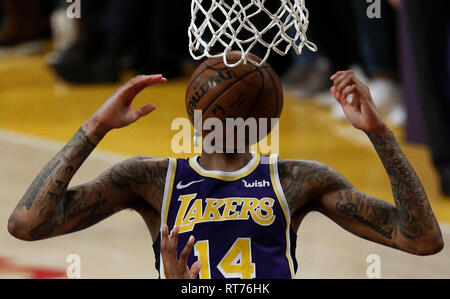 February 27, 2019 - Los Angeles, California, U.S - Los Angeles LakersÃ• Brandon Ingram (14) dunks during an NBA basketball game between Los Angeles Lakers and New Orleans Pelicans Wednesday, Feb. 27, 2019, in Los Angeles. (Credit Image: © Ringo Chiu/ZUMA Wire) - Stock Photo