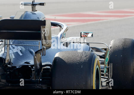 Montmelo, Barcelona, Spain. 28th Feb 2019.Lewis Hamilton (Mercedes AMG Petronas Motosport) W10 car, seen in action during the winter testing days at the Circuit de Catalunya in Montmelo (Catalonia). Credit: SOPA Images Limited/Alamy Live News - Stock Photo
