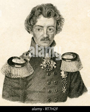 Duke Charles of Mecklenburg-Strelitz, Prussian soldier, brother of Queen Luise of Prussia, steel engraving, about 1840., Artist's Copyright has not to be cleared - Stock Photo