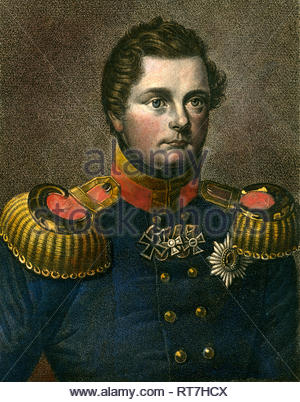 Frederick William, crownprince of Prussia, later Frederick William IV of Prussia, coulered steel engraving from ' Zeitgenossen Nr. 41', 2nd year, printed and published by Bibliographisches Institut Hildburghausen, about 1830., Artist's Copyright must also be cleared - Stock Photo